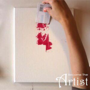 commencer une peinture acrylique abstraite avec un carte de crédit au lieu du pinceau