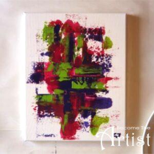 toile abstraite facile réalisée avec une vieille carte de banque au lieu d'un pinceau