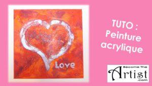 BecomeTheArtist Peinture Acrylique Coeur (technique de texture aux serviettes)