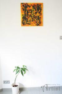 tuto debutants toile acrylique tricolore jaune orange marron sur mur blanc