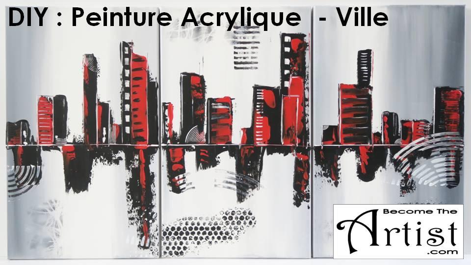 BecomeTheArtist TUTO DIY Toile Peinture Acrylique Ville