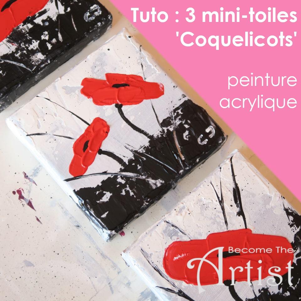 Tuto : Peinture acrylique : 3 mini-toiles «Coquelicots»