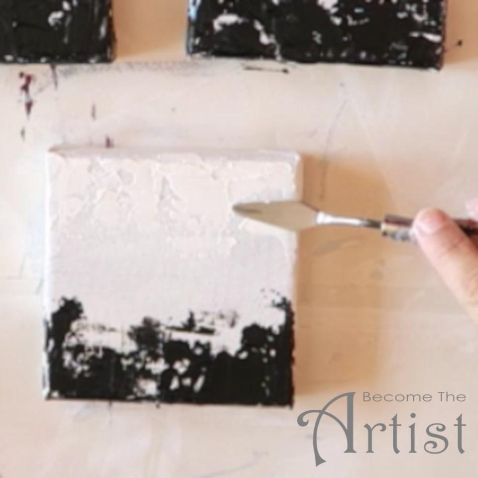 peindre ses nuages blancs avec de la peinture acrylique et un couteau à peindre