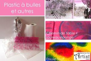 utiliser du plastic à bulles avec de la peinture pour faire tampon ou utiliser un chemin de table pour rouler avec une éponge et ainsi faire un motif