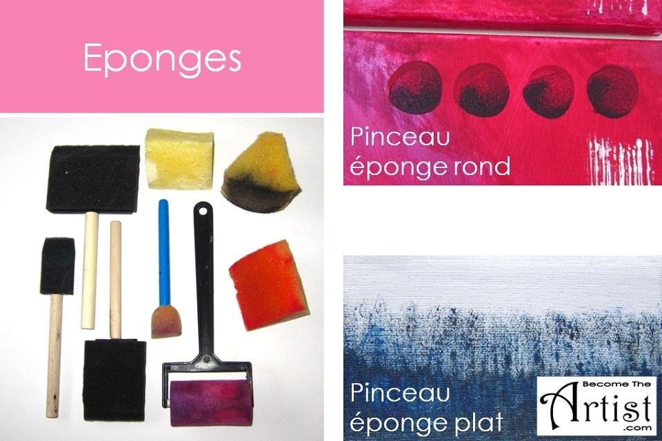 éponges utilisées en peinture acrylique