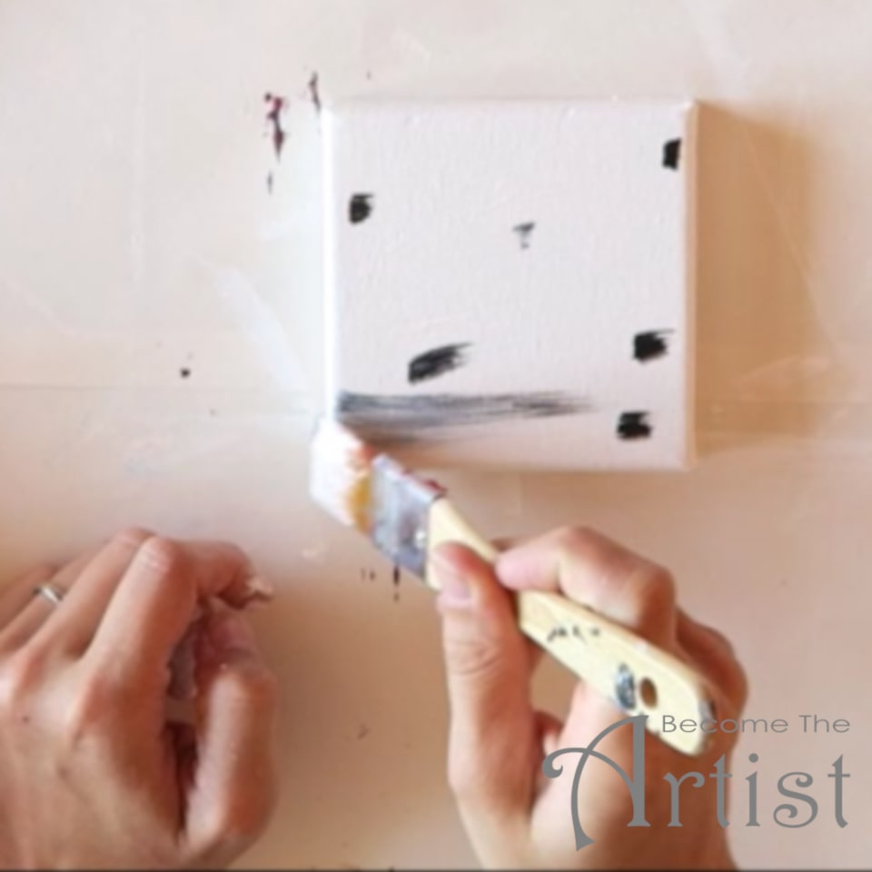 peinture acrylique coquelicots peindre le fond gris avec du blanc et quelques petites touches de couleur noire