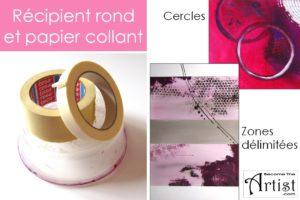 utilisez des pots ou plats ronds que vous contournez avec de la peinture pour dessiner des cercles. le papier collant peut servir à délimiter des zones/ en le retirant vous obtenez des belles bordures droites