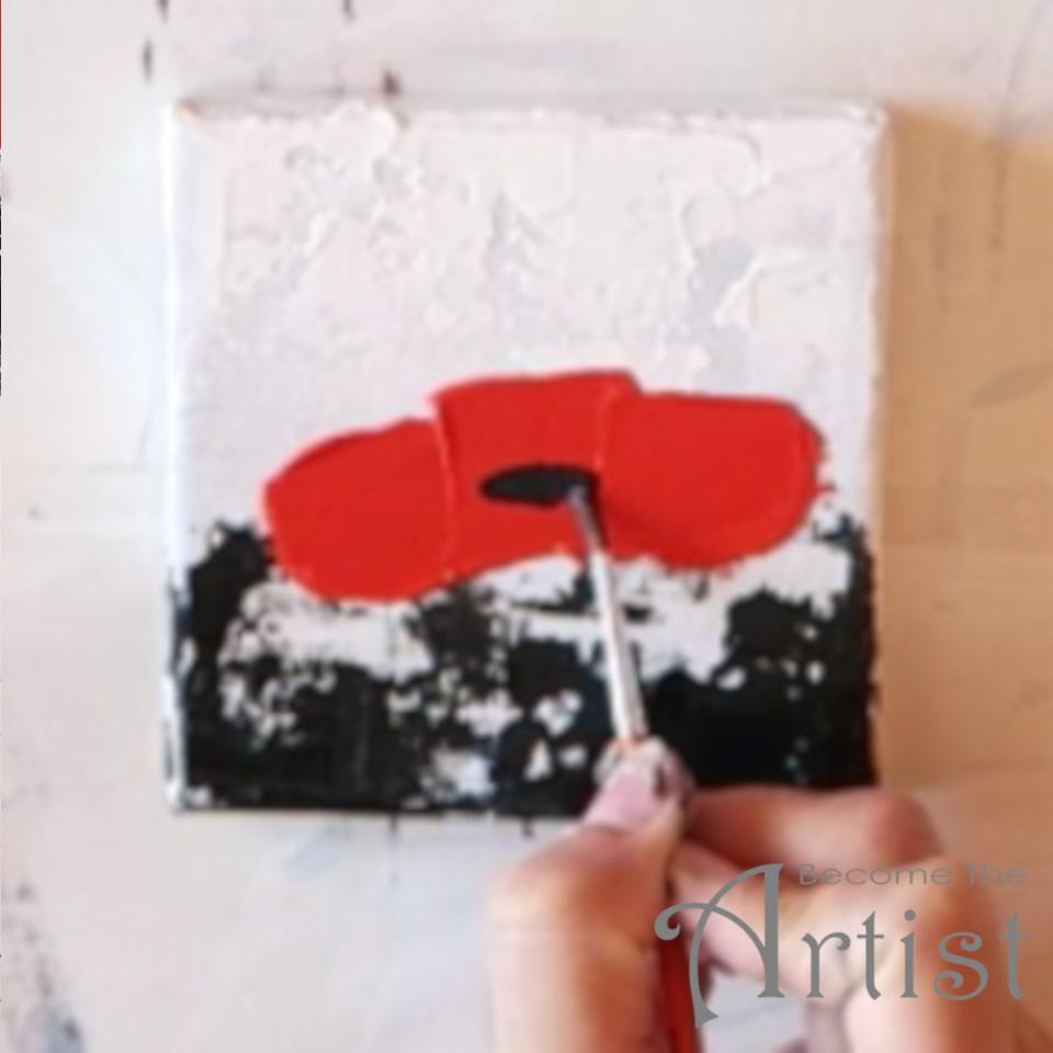 peindre le cœur de la fleur avec un pinceau fin et de la peinture acrylique noire