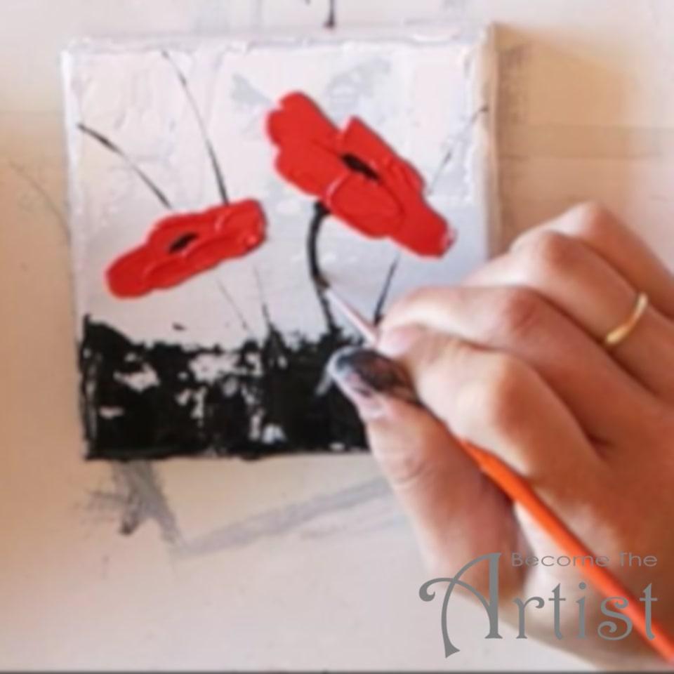peindre des tiges de fleurs coquelicots avec un pinceau fin