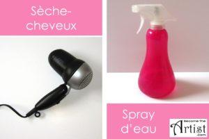 le sèche-cheveux peut servir à sèche rune couche de peinture plus rapidement et le spray d'eau pour prolonger le temps de séchage de la peinture