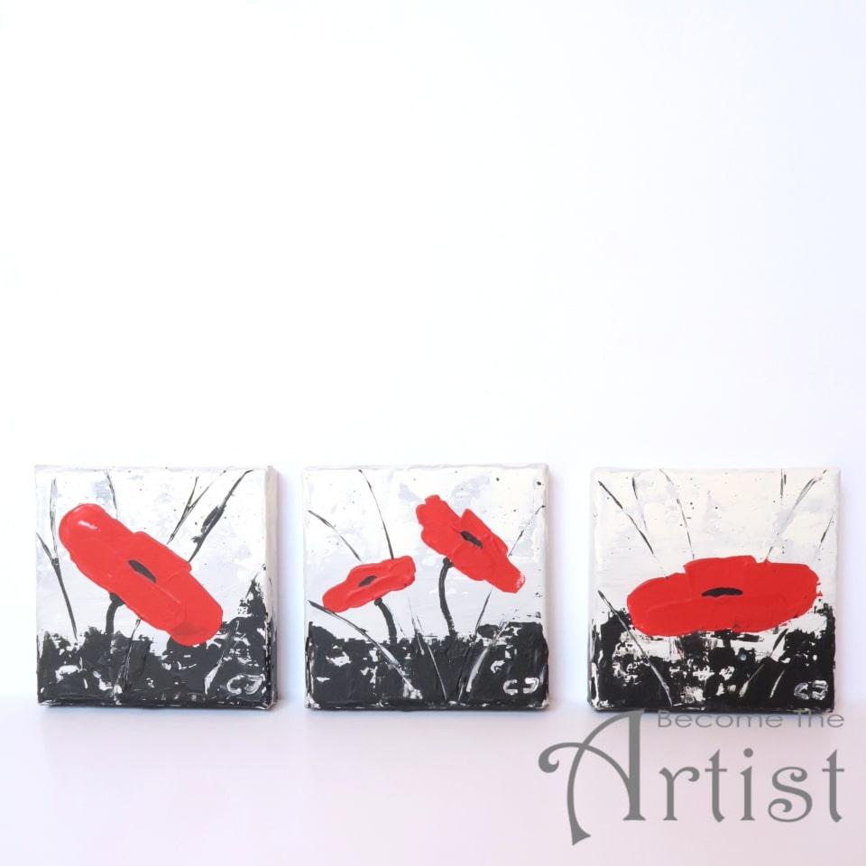3 mini-toiles coquelicots peinture acrylique au couteau à peindre