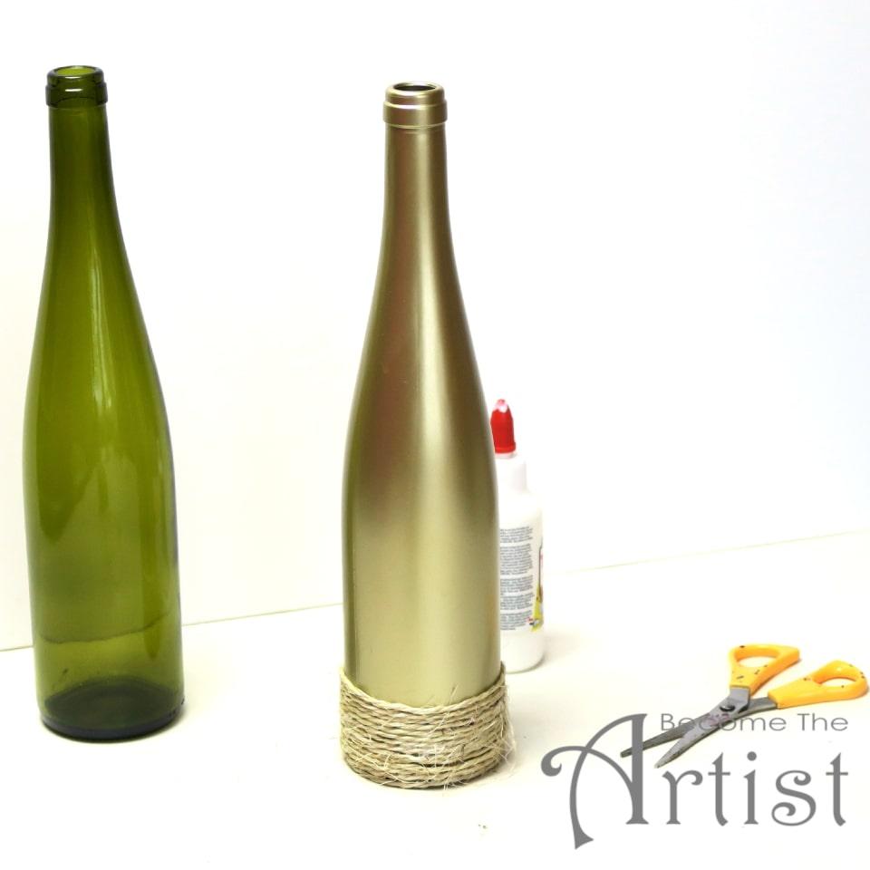 corde collée sur la bouteille avec de la colle blanche