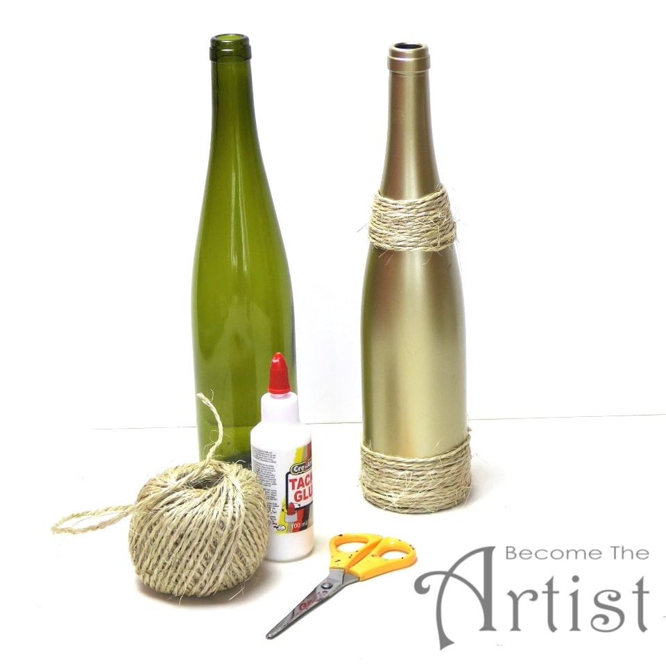 bouteille de vin décorée avec de la corde