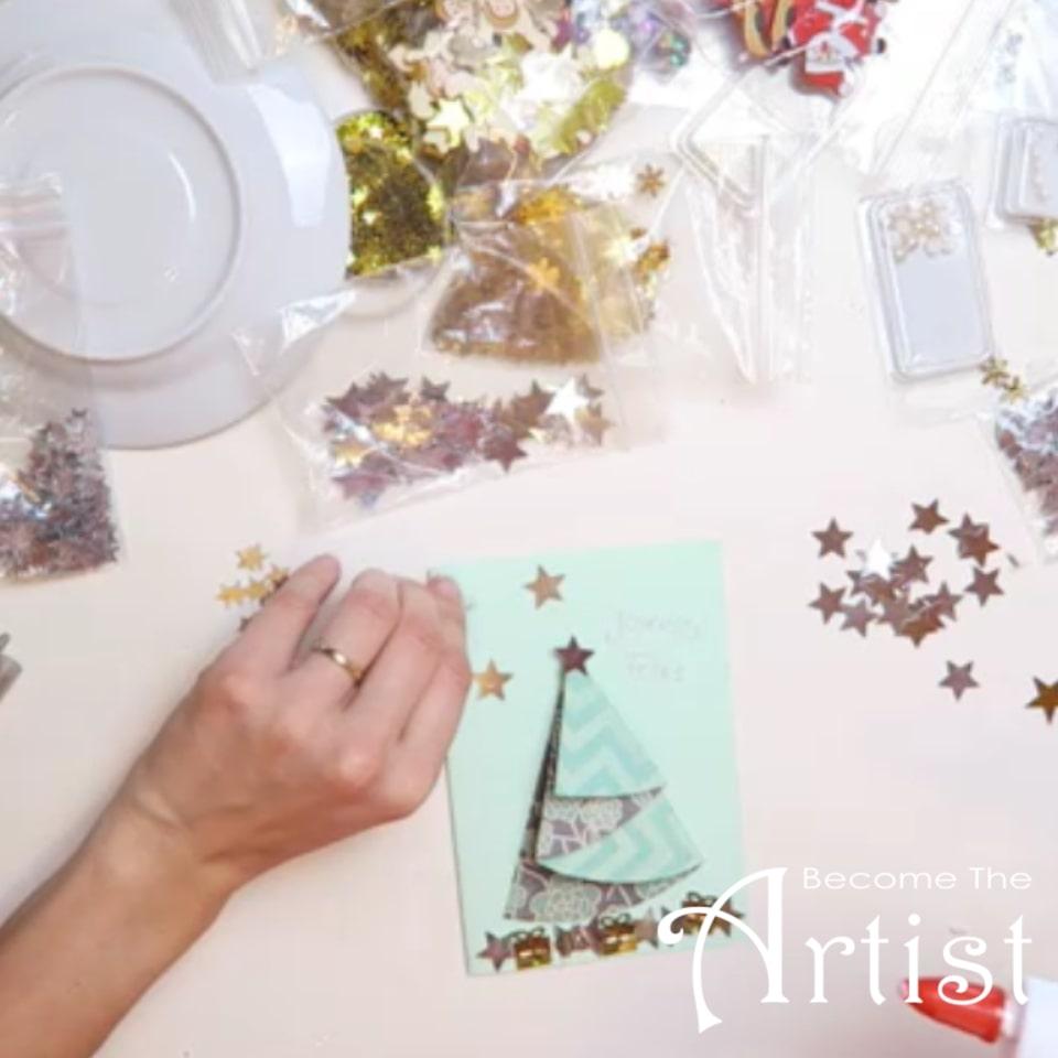 sapin Noël 3D sur carte, décoration d'étoiles et perles