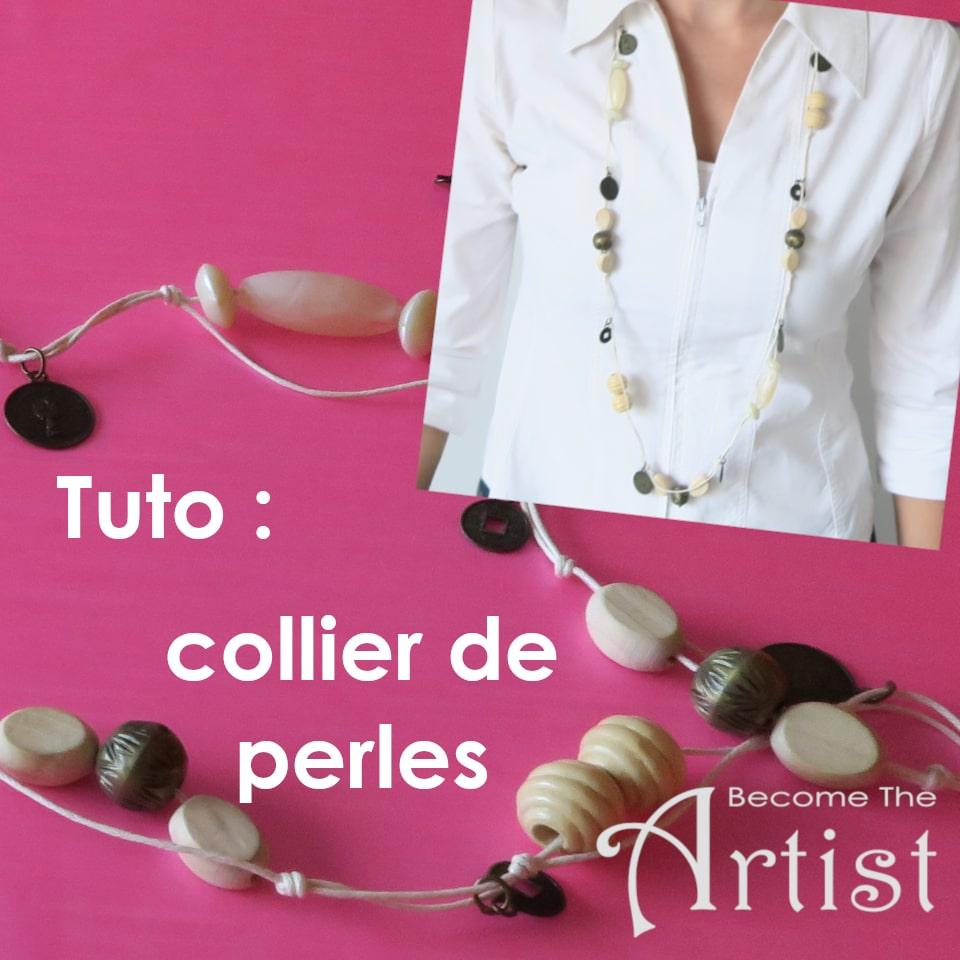 tuto réaliser un long collier de perles avec des perles en bois, plastic et métal et avec 3 metres de fil de cuir