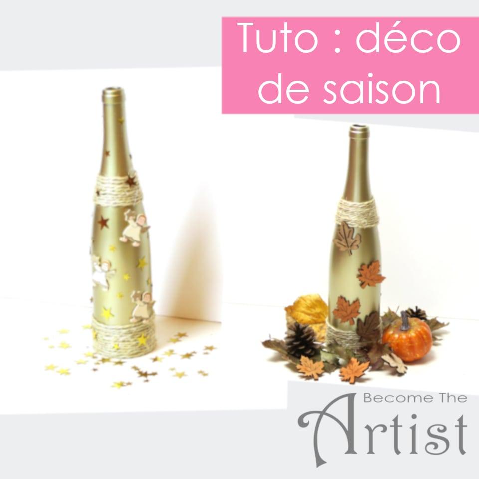 tuto décorer une bouteille de vin pour la saison