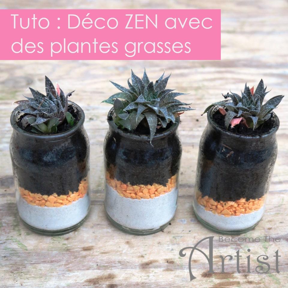 tuto pour réaliser de la déco zen avec des pots de yaourt et des jeunes d'une plante grasse