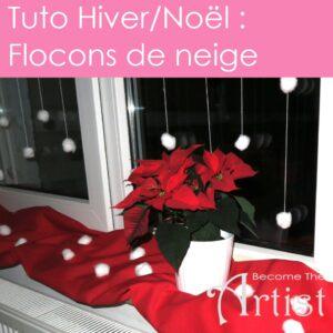 tuto pour décorer une fenêtre en hiver ou pour Noël des fils sont collés à la fenêtre sur lesquels on a enfilé des boules d'ouate avec une aiguille..