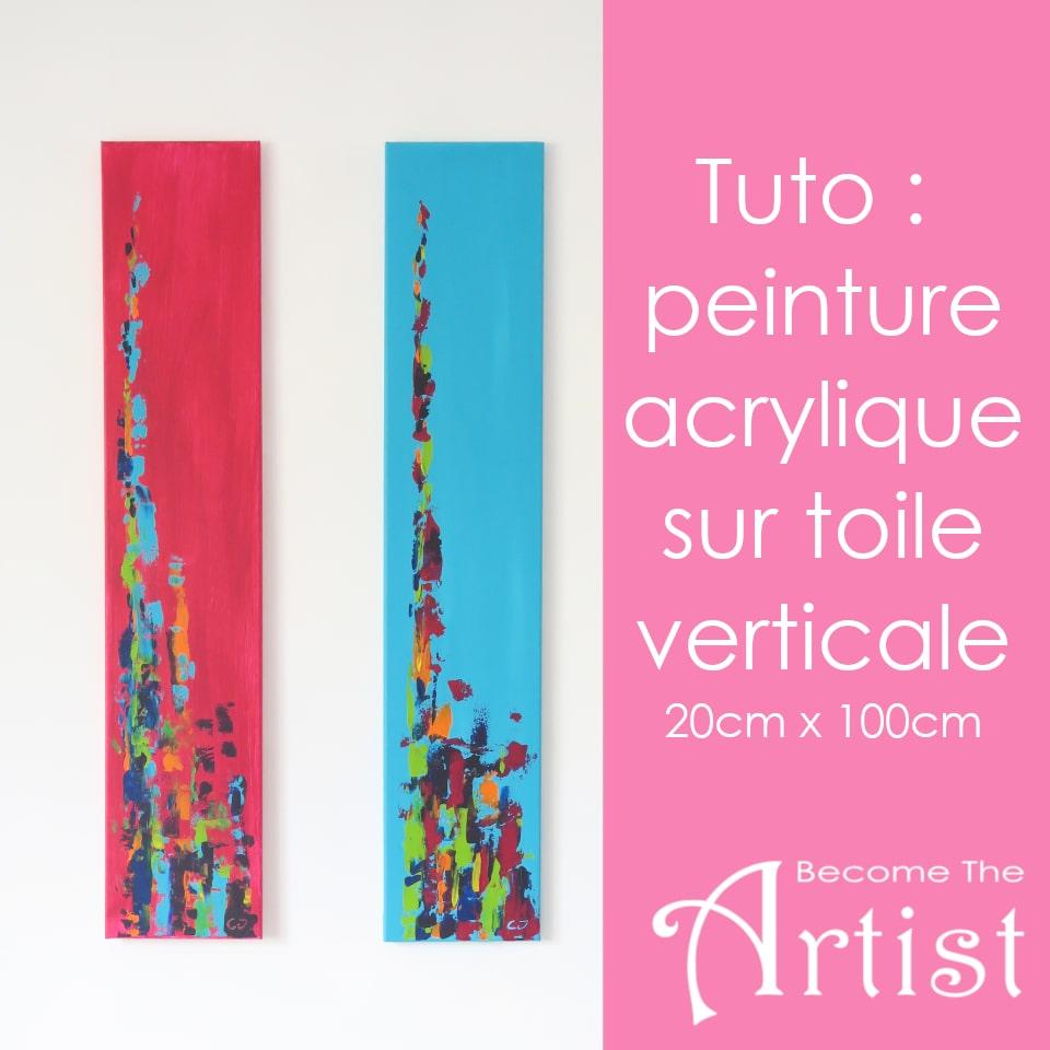 tuto d'une peinture verticale de 20 cm sur 100 cm dans les ton fuchsia ou turquoise