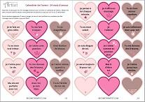 calendrier de l'avent à imprimer gratuit 24 mots d'amour