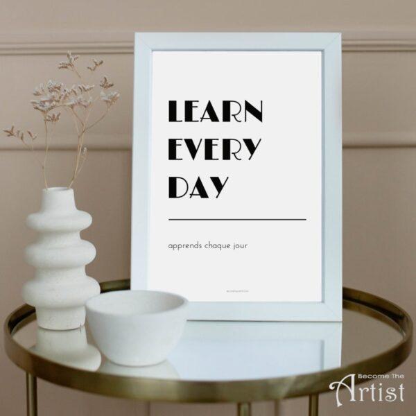 Learn every day apprends chaque jour - cdéco à imprimer pour chambre d'enfant