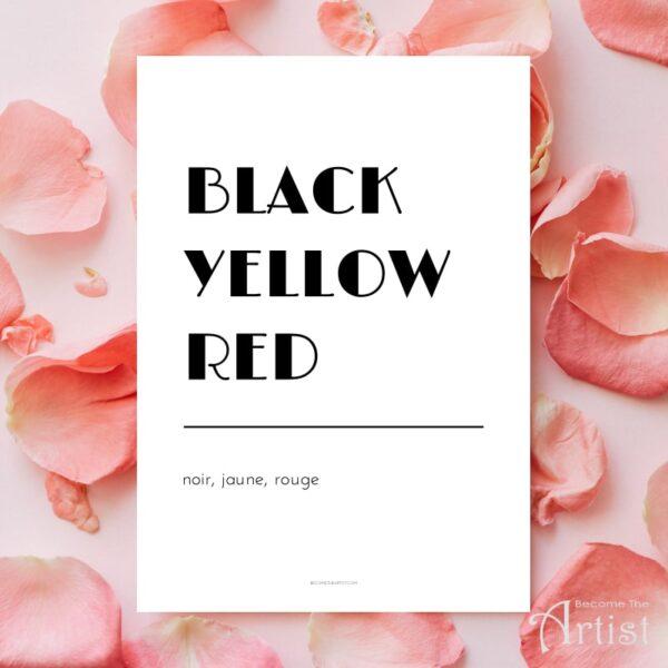 affiche noir jaune rouge en anglais