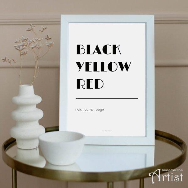 Black yellow red en français et anglais