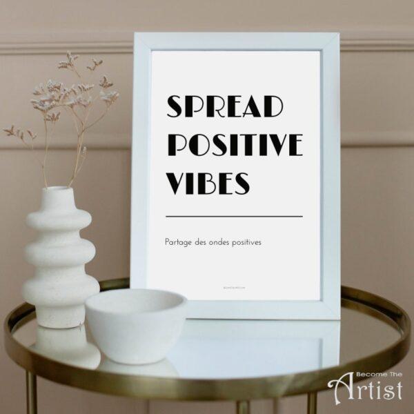 affiche partage des ondes positives dans cadre blanc à imprimer