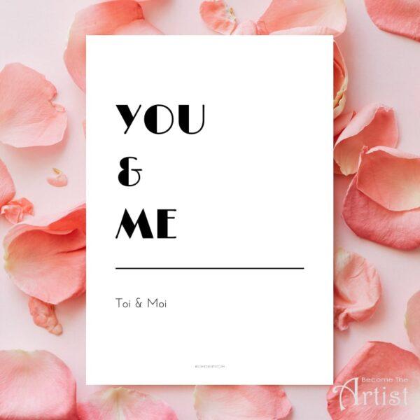 Printable you & me en français toi et moi pour amoureux