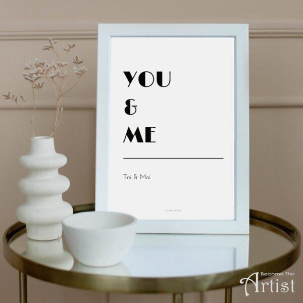 toi et moi - affiche en anglais/francais déco noir et blanc