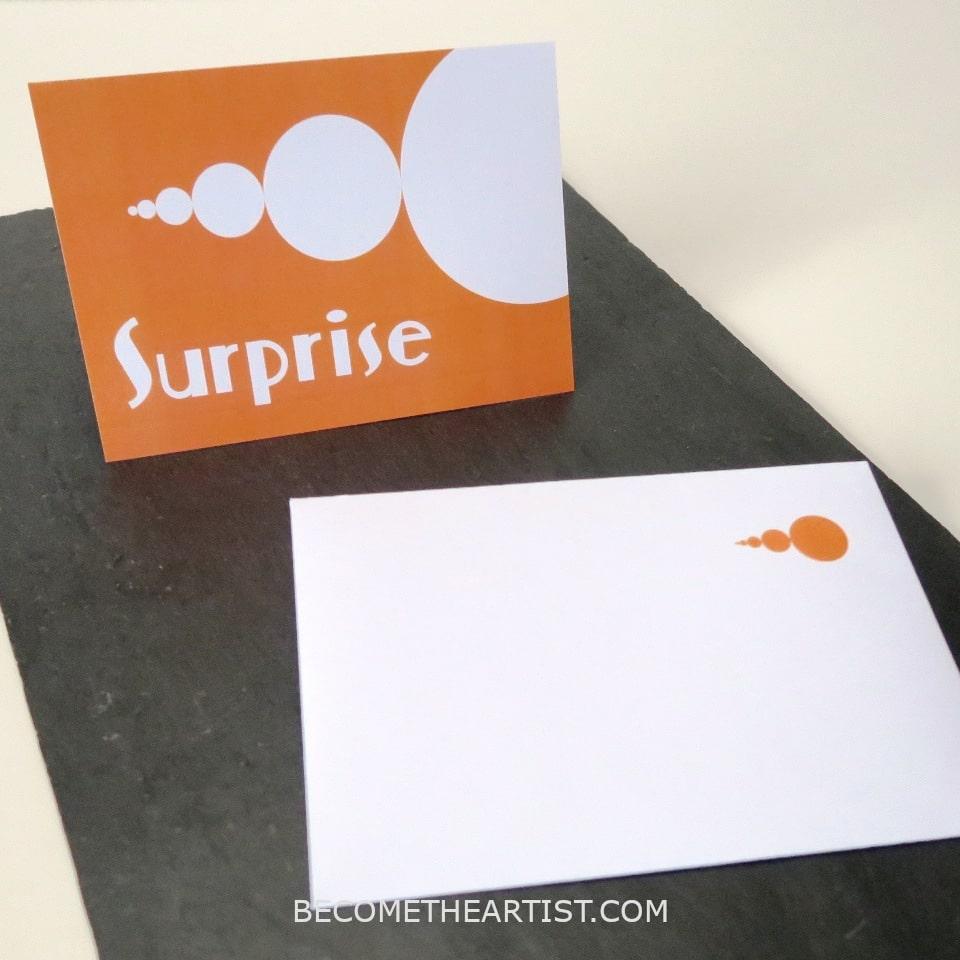 carte surprise orange avec enveloppe a imprimer