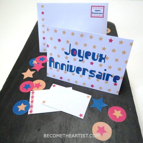 Kit carte d'anniversaire - motif étoiles 3 couleurs