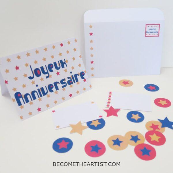 Kit carte d'anniversaire - motif étoiles - 3 couleurs