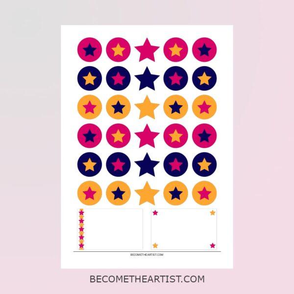 Kit carte d'anniversaire - motif étoiles - 3 couleurs -Confettis et mini cartes