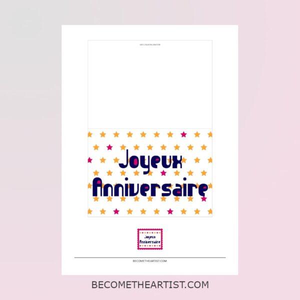 Kit carte d'anniversaire - motif étoiles - 3 couleurs - carte et timbre