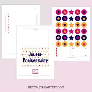 Kit carte d'anniversaire - motif étoiles - 3 couleurs - printable