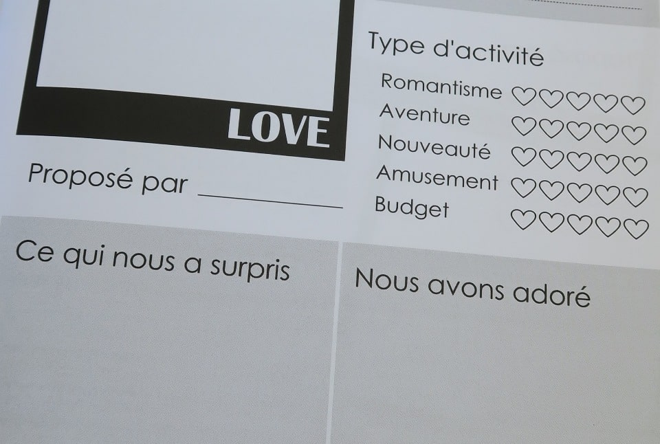 évaluation d'activité en couple - romantisme - aventure - nouveauté - amusement - budget