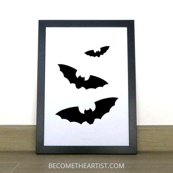 3 chauves-souris volantes affiche à imprimer