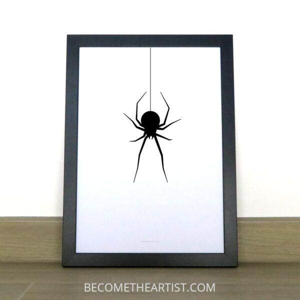 affiche araignée qui pend a un fil déco halloween qui fait peur