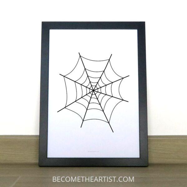 affiche à imprimer toile d'araignée déco pour halloween