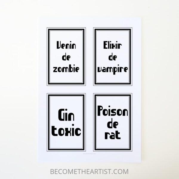 étiquettes de bouteille Halloween à imprimer Idée de déco Halloween