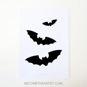 Idée de déco Halloween printable affiche avec 3 chauves-souris déco à imprimer