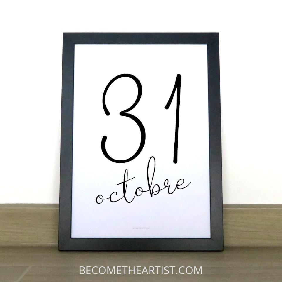 printable halloween le 31 octobre