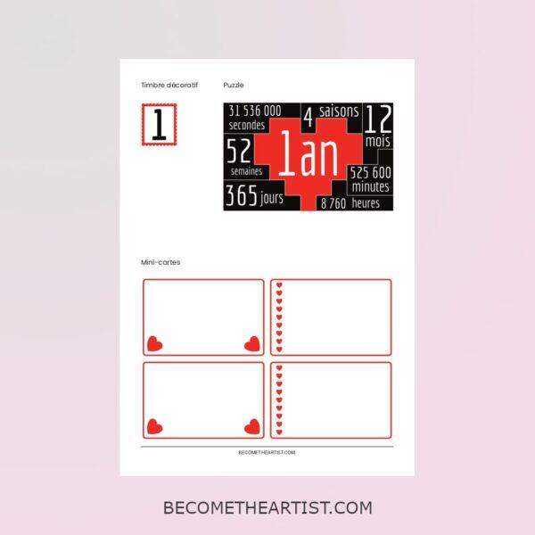 puzzle, timbre et mini cartes du kit de la carte d'anniversaire de couple 1 an
