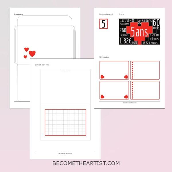 printable Kit carte d anniversaire de couple 5 ans